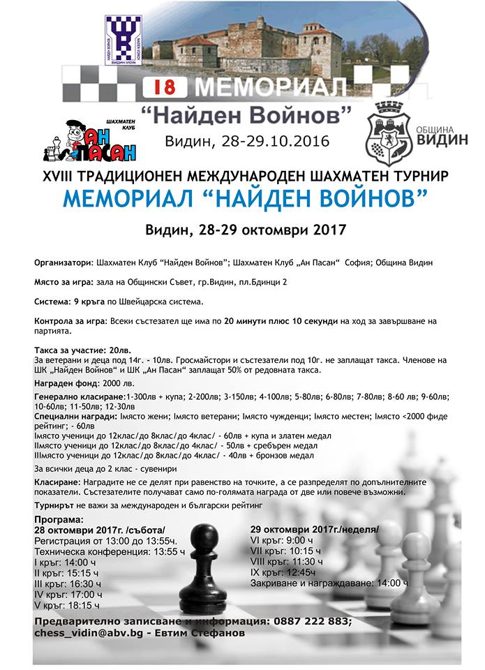 XVIII memorial Naiden Voinov Vidin 28-29.10.2017